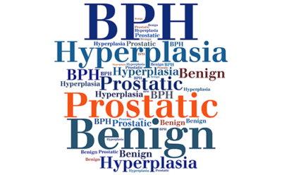 Text collage of variations of the phrases BPH - benign prostatic hyperplasia