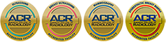 Trio of American College of Radiology Accreditation Logos. Logos are for Ultrasound, Breast Ultrasound, and Mammography
