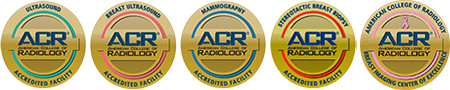 American College of Radiology Accreditation Logos. Logos are for Ultrasound, Breast Ultrasound, and Mammography