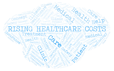 Rising Healthcare Costs word cloud. Wordcloud made with text only.