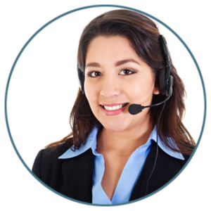 Woman wearing a phone headset and dressed in business attire