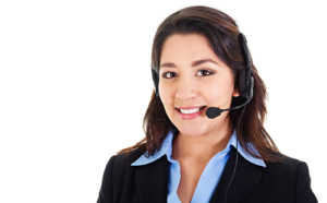 Stock image of female call center operator smiling wearing business attire isolated on white