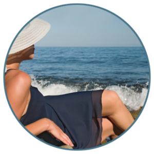 Woman in black sundress and a straw hat relaxes on the beach next to the waves crashing onto the shore